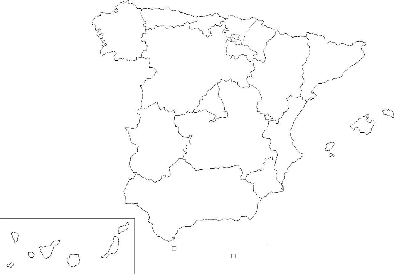 Spanelsko Slepa Mapa Prazdna Mapa Spanelsko Jizni Evropa Evropa