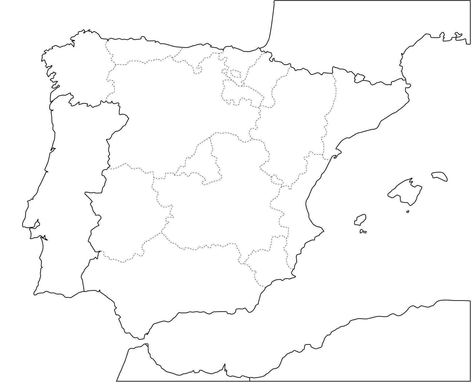 Slepa Mapa Spanelska Prosty Mapa Spanelsko Jizni Evropa Evropa