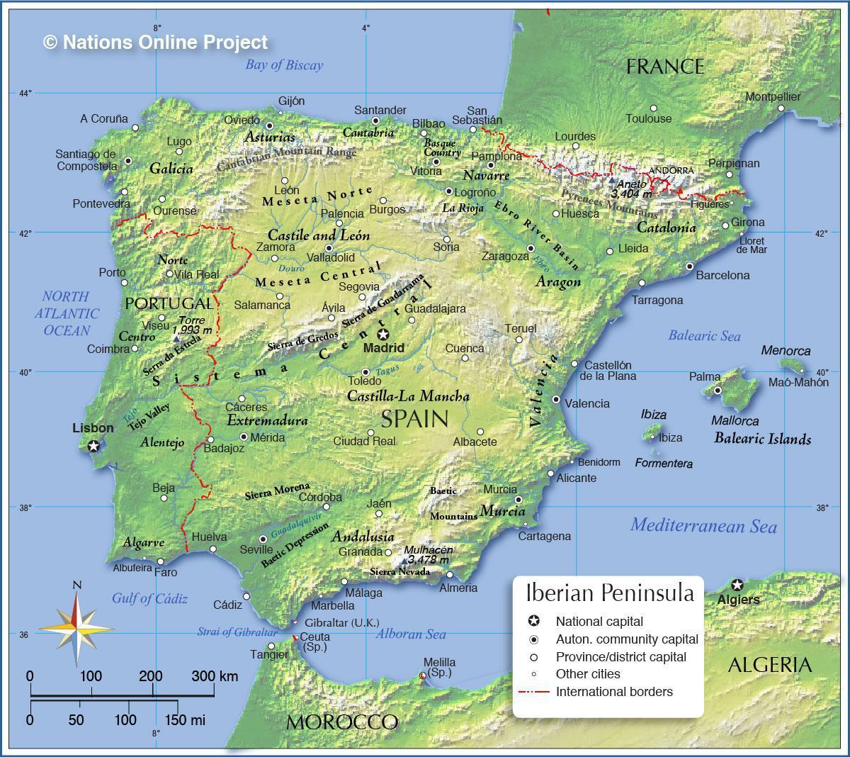 Spanelsko Nadmorske Vysky Mapa Mapa Spanelska Nadmorskou Vyskou