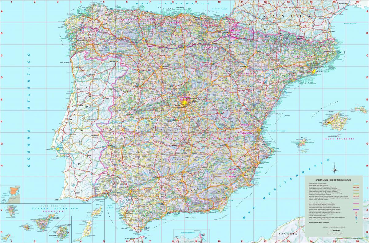 Podrobna Mapa Spanelska Oznacena Mapa Spanelsko Jizni Evropa